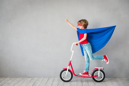 Photo for Child pretend to be superhero. Superhero kid. Success, creative and imagination concept - Royalty Free Image