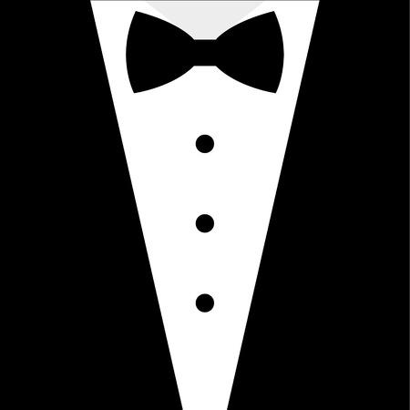 Illustrazione per Black and white bow tie tuxedo illustration - Immagini Royalty Free