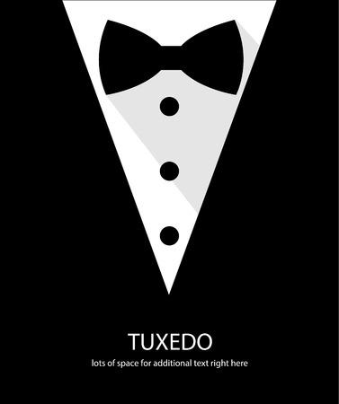 Illustration pour Black and white bow tie tuxedo illustration flat long shadow - image libre de droit