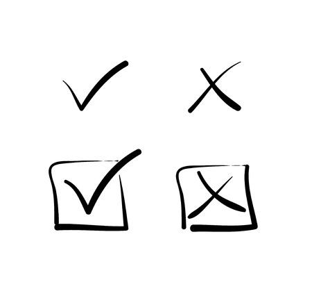 Illustration pour Yes no tick cross box signs - image libre de droit