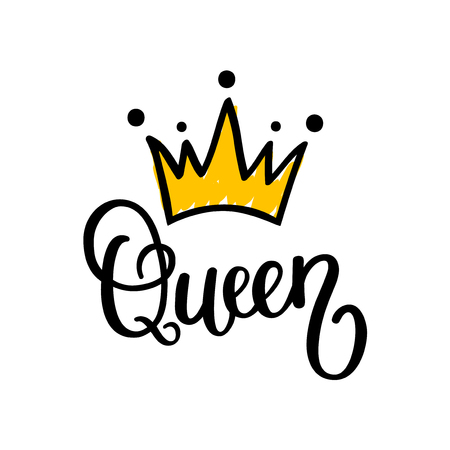 Illustration for Queen crown calligraphy design illustration. - Royalty Free Image