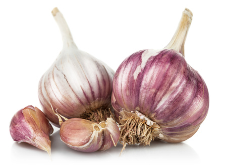 Photo pour Fresh garlic in cut. Isolated on white background - image libre de droit