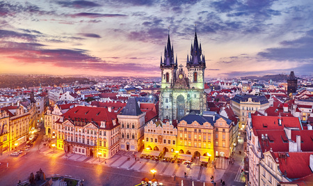 Photo pour Church of our lady before tyn on Old Town Square Prague Czech republic with red roof sunset sky and top view. - image libre de droit