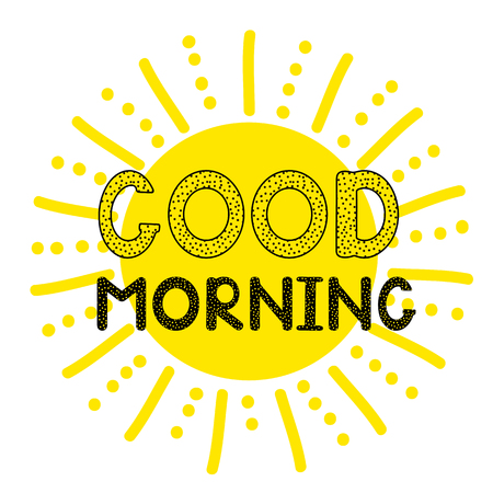 Illustration pour Good morning - handwritten creative text and sun icon. Vector illystration - image libre de droit