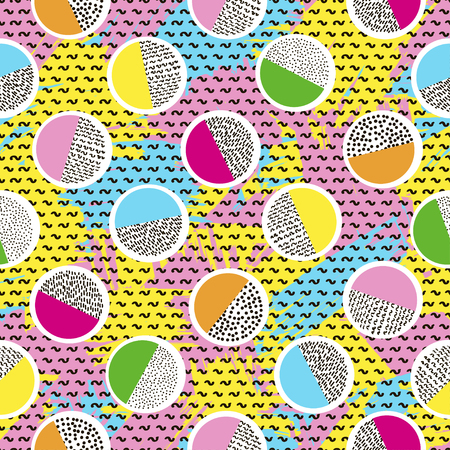 Illustration for Colorful seamless pattern from circles on the bright brush strokes background and black dots. 80's - 90's years design style. Trendy. Vector illustration - Royalty Free Image
