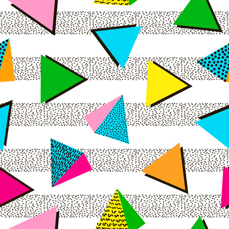 Illustration for Colorful geometric seamless pattern. Bright background. 80's - 90's years design style. Trendy. Vector illustration - Royalty Free Image