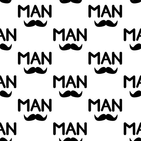 Illustrazione per Seamless pattern with black mustache and word Man . Vector illustration - Immagini Royalty Free