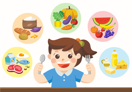 Illustration for Isolated vector. A cute girl with The five food group. Let's get something to eat! - Royalty Free Image