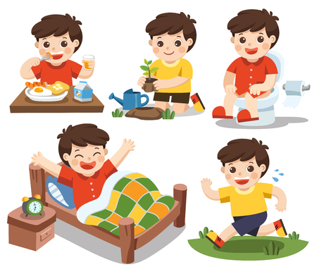 Illustration pour Isolated vector. The daily routine of a cute boy on a white background. [wake up, eat , sitting on the toilet, running, plant a tree] - image libre de droit