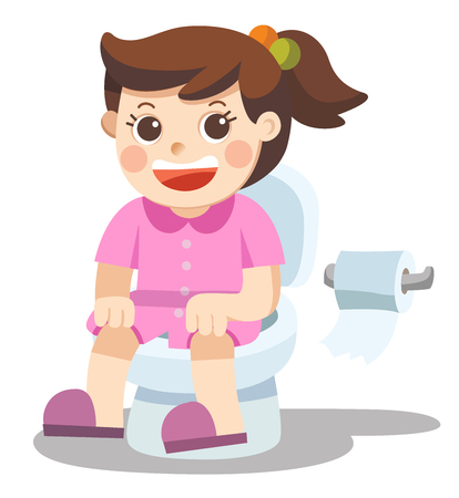 Illustration pour Isolated vector. A Little girl is sitting on the toilet. - image libre de droit