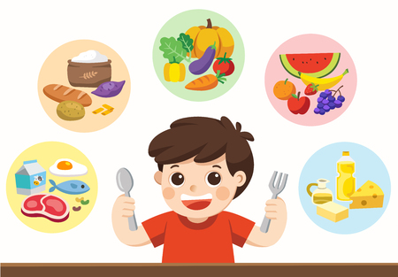 Illustration pour Isolated vector. A cute boy with The five food group. Let's get something to eat! - image libre de droit