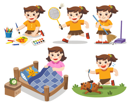 Illustration pour The daily routine of A cute girl on a white background.Isolated vector. [Make a bed, Do homework , Drawing, Play badminton, Run with his dog, Clean] - image libre de droit