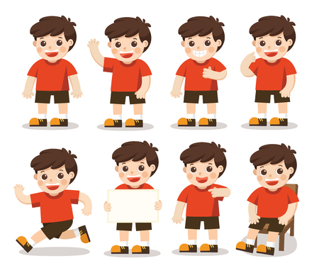 Illustration for Boys character set  in different posesl. A character for your project. Vector illustration - Royalty Free Image
