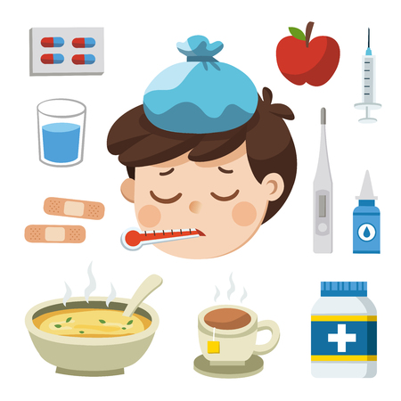 Illustrazione per Sick Boy with thermometer in his mouth. Bad feeling. And Icon set of cold, sick. - Immagini Royalty Free