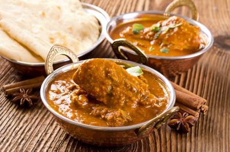 chick curry with naan bread