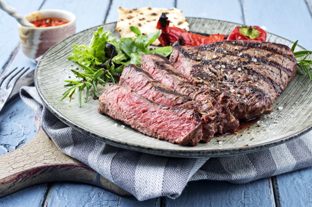 Photo for Charolais steak on plate - Royalty Free Image