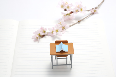 Study desk, blue book and cherry blossoms on the notebook.