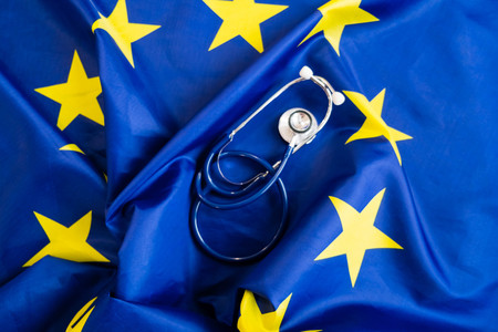 Photo for stethoscope with European Union flag. Concept of the health of Europe. Stethoscope over European Flag - Royalty Free Image