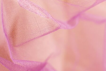 Photo for Ultra violet beautiful abstract art background of detail bright colorful pattern of gentle transparent material fabric chiffon. Comfortable home textile. Closeup palette texture. Spring-summer mood - Royalty Free Image