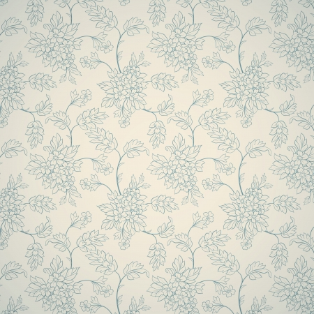 Blue floral ornament on light background mural