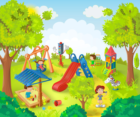 Illustration for Children playing in the park vector illustration - Royalty Free Image