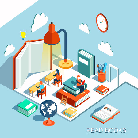 Illustration pour The concept of learning, read books in the library, isometric flat design vector - image libre de droit