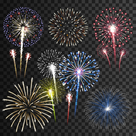 Foto per Set of isolated vector fireworks - Immagine Royalty Free