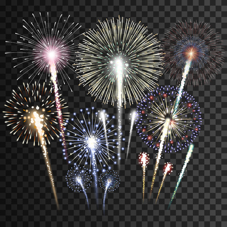 Illustration pour Set of isolated vector fireworks - image libre de droit
