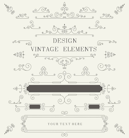 Photo for Vintage design template, borders, retro elements, Frame, for invitation Vector illustration - Royalty Free Image