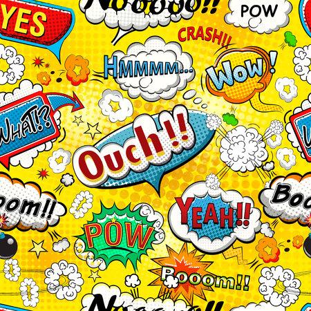 Illustration pour Comic speech bubbles seamless pattern vector - image libre de droit