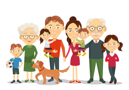 Illustration for Big and happy family portrait with children, parents, grandparents illustration - Royalty Free Image