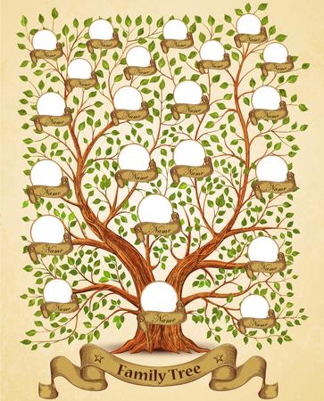 Illustration pour Family Tree template vintage vector illustration - image libre de droit
