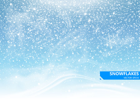 Illustration pour Falling snow on a blue background. Snowstorm and snowflakes. Background for winter holidays. Vector Illustration. - image libre de droit