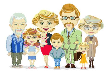 Illustration pour Big and happy family portrait with children, parents, grandparents vector illustration - image libre de droit