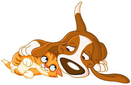 Illustration pour Cute dog and cat friendship - image libre de droit