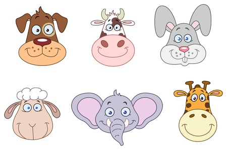 Cartoon animal head collection