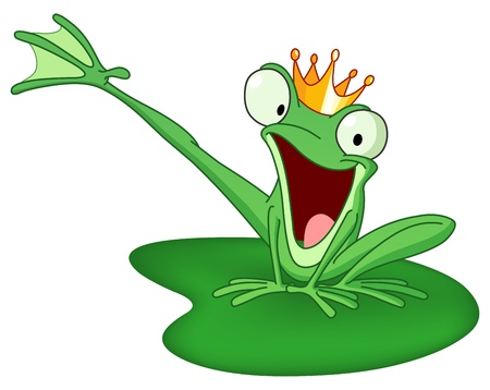 Illustration for Happy frog prince on a lily pad - Royalty Free Image