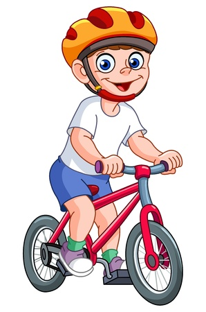 Cute kid riding his bicycle