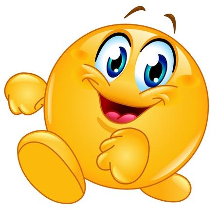 Ilustración de Happy emoticon walking - Imagen libre de derechos