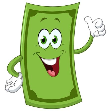 Illustration pour Dollar cartoon showing thumb up - image libre de droit