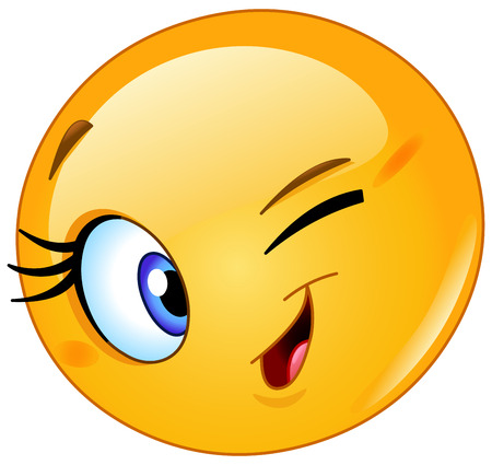 Illustration pour Female emoticon winking - image libre de droit