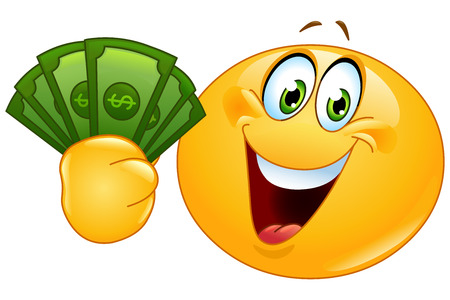 Ilustración de Happy emoticon holding dollar bills - Imagen libre de derechos