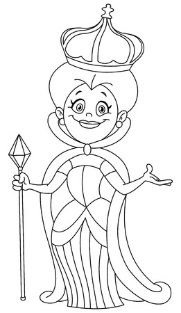 Illustration for Outlined queen illustration coloring page  - Royalty Free Image