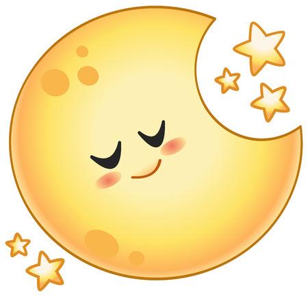 Ilustración de Cartoon sleeping moon with stars - Imagen libre de derechos