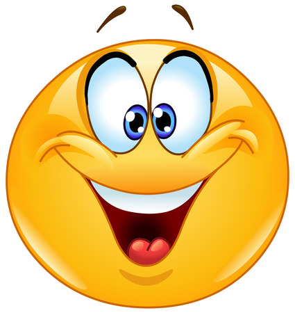 Illustration pour Happy emoticon with crossed eyes squinting. - image libre de droit