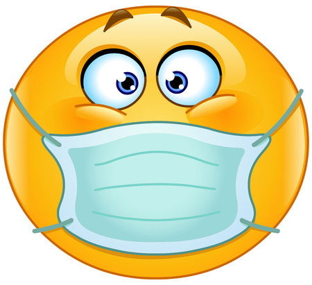 Illustrazione per Emoticon with medical mask over mouth - Immagini Royalty Free