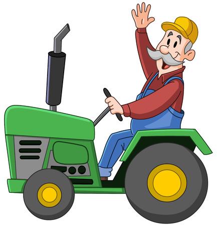 Illustration pour Smiling farmer driving a tractor and waving - image libre de droit
