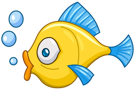 Photo for Cartoon fish with bubbles - Royalty Free Image