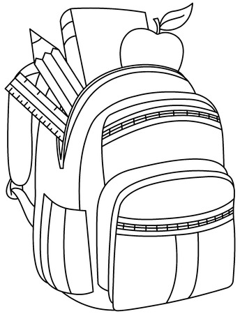 Photo pour Outlined school backpack. Vector illustration coloring page. - image libre de droit