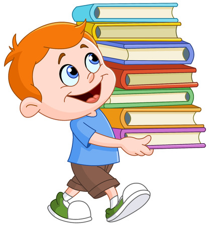 Illustration pour Young boy walking and carrying a tall and heavy stack of school books - image libre de droit